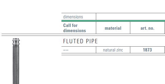 zinc fluted pipe