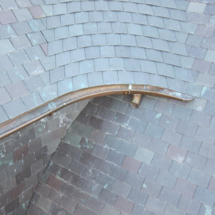 copper gutters and slate