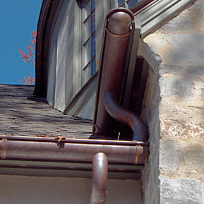 copper gutters on upscale home