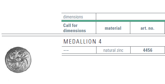 zinc medallion